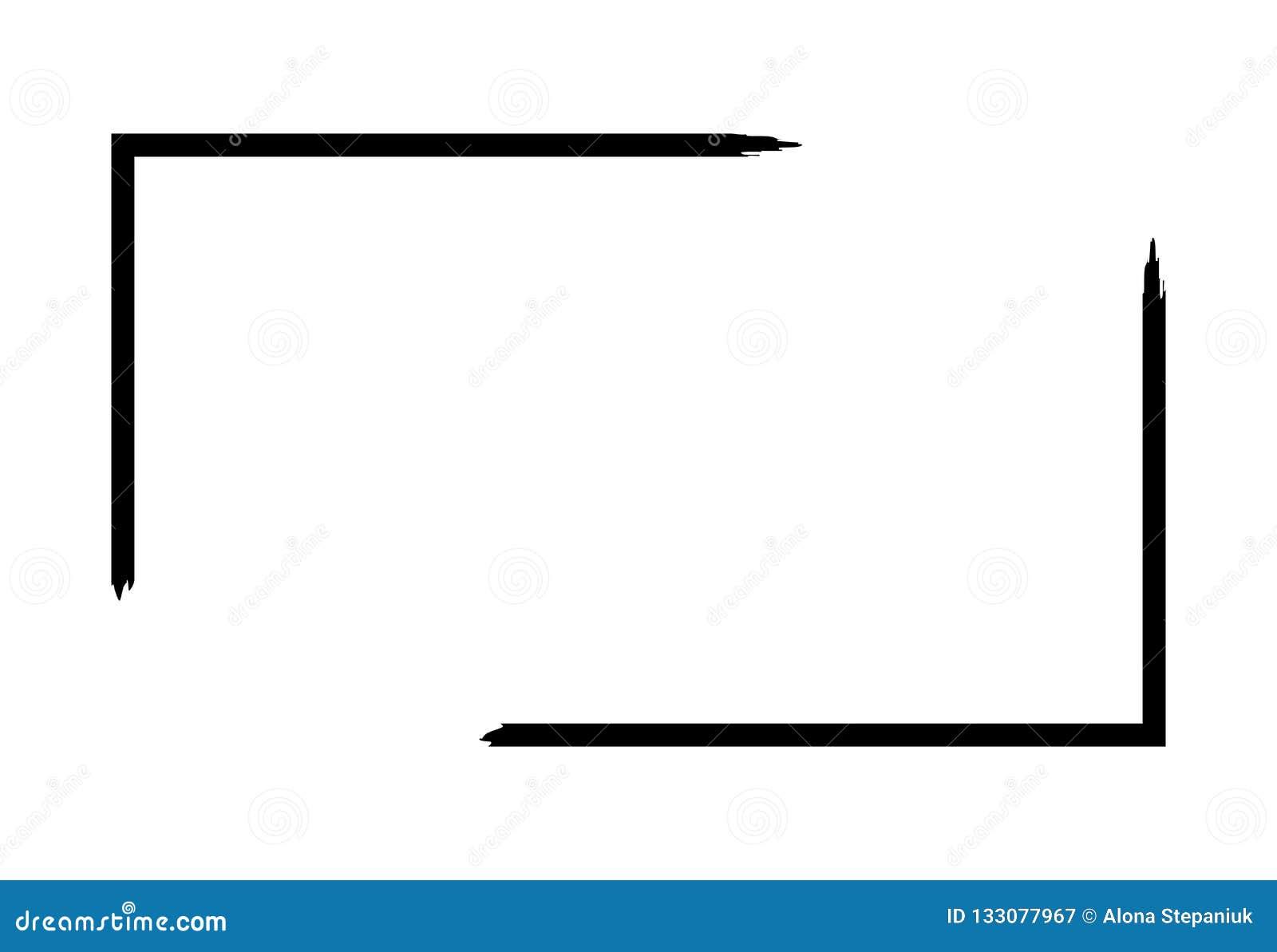 Рамка Grunge изолированная на белой предпосылке Черная граница фокуса прямоугольника, шаблон хода грязи Влияние кисти