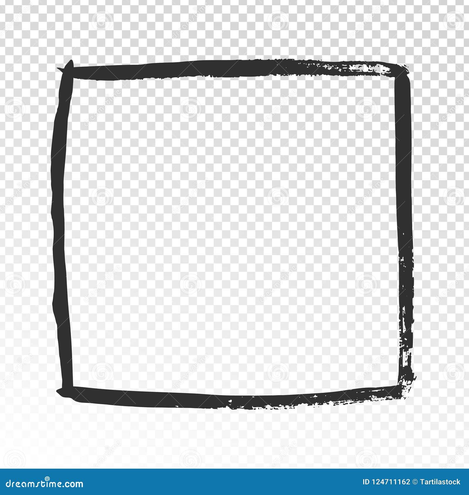 Рамка Grunge квадратная Черная щетка штрихует кадр, дизайн ярлыка кистей акварели или нарисованный рукой вектор рамок фото