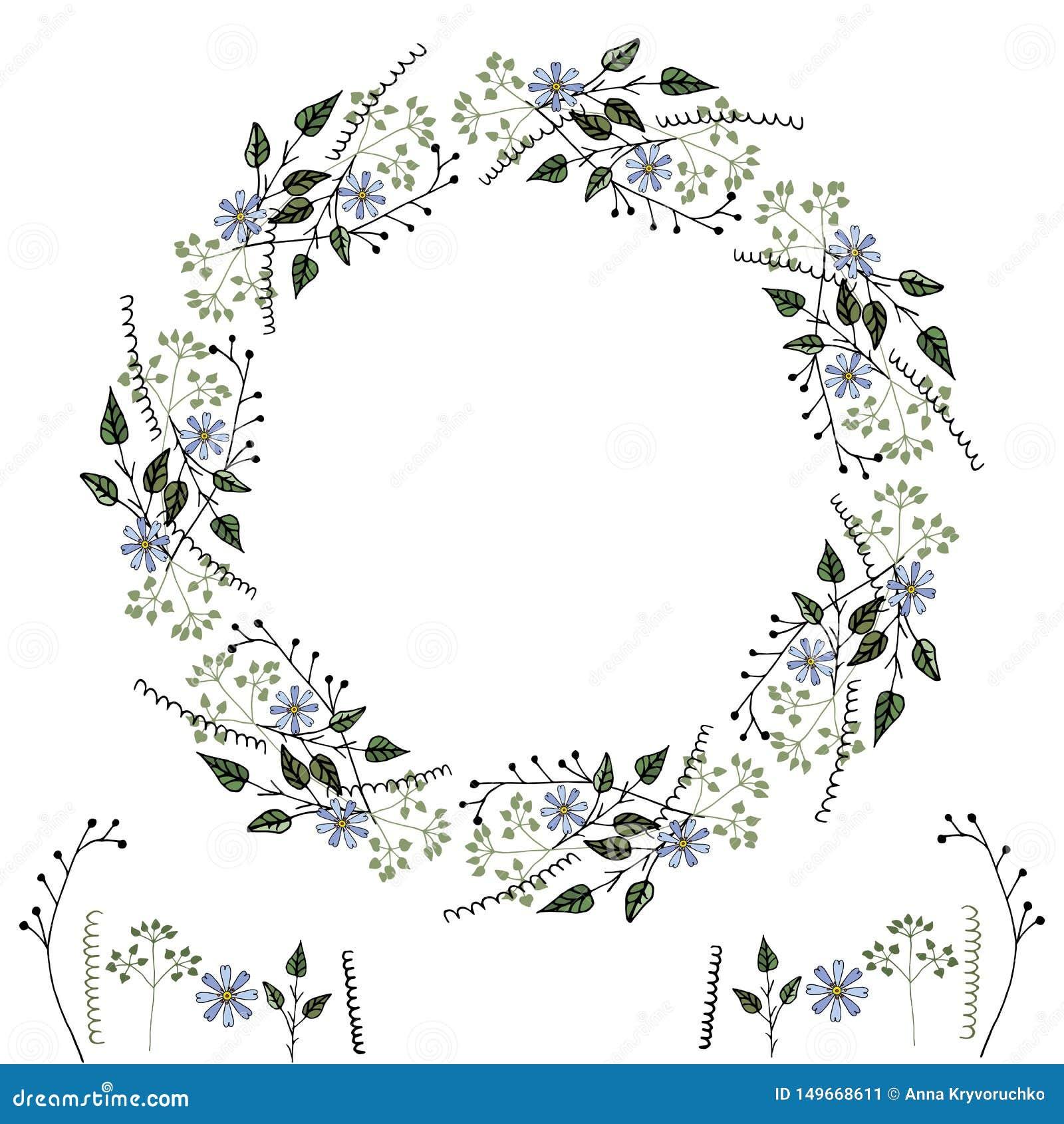 Рамка vektor цветка простых чувствительных ботанических элементов, цветков и геометрических форм, для создания интересных дизайно