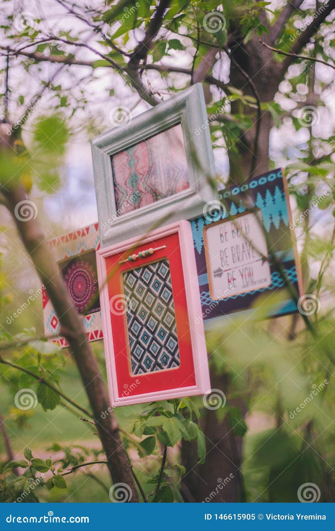 Рамки фото конца-вверх декоративные висят на ветви дерева