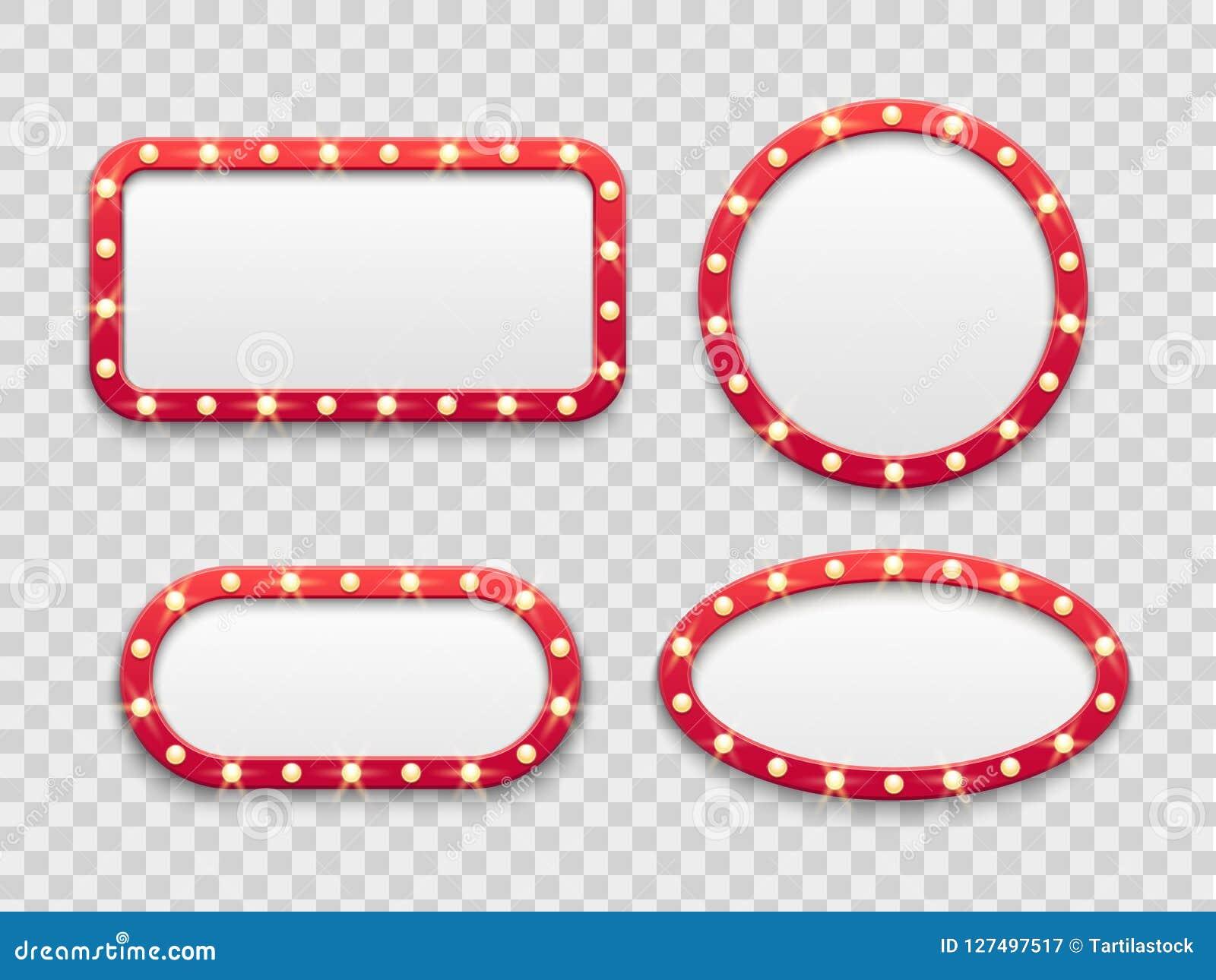 Рамки шатёр светлые Винтажный кругом и прямоугольные знаки кино и казино пустые красные с шариками Вектор изолировал комплект