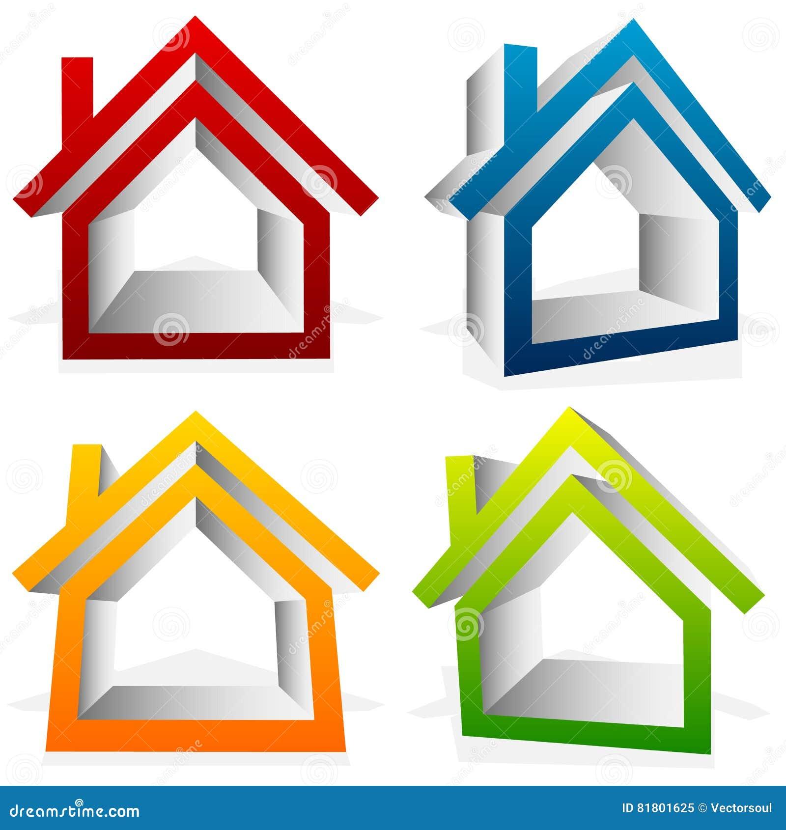 Расквартируйте домой, пригородный, жилой дом, значки недвижимости