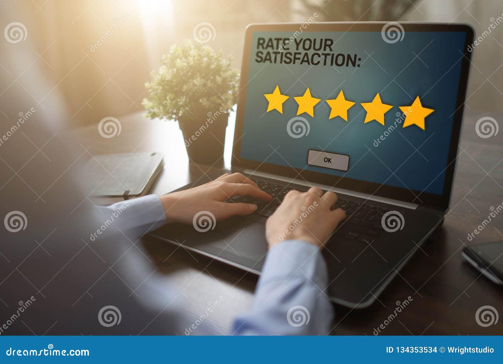 Расклассифицируйте ваш опыт Обзор удолетворения потребностей клиента Звезда 5 на экране прибора Концепция проверки качества обслу
