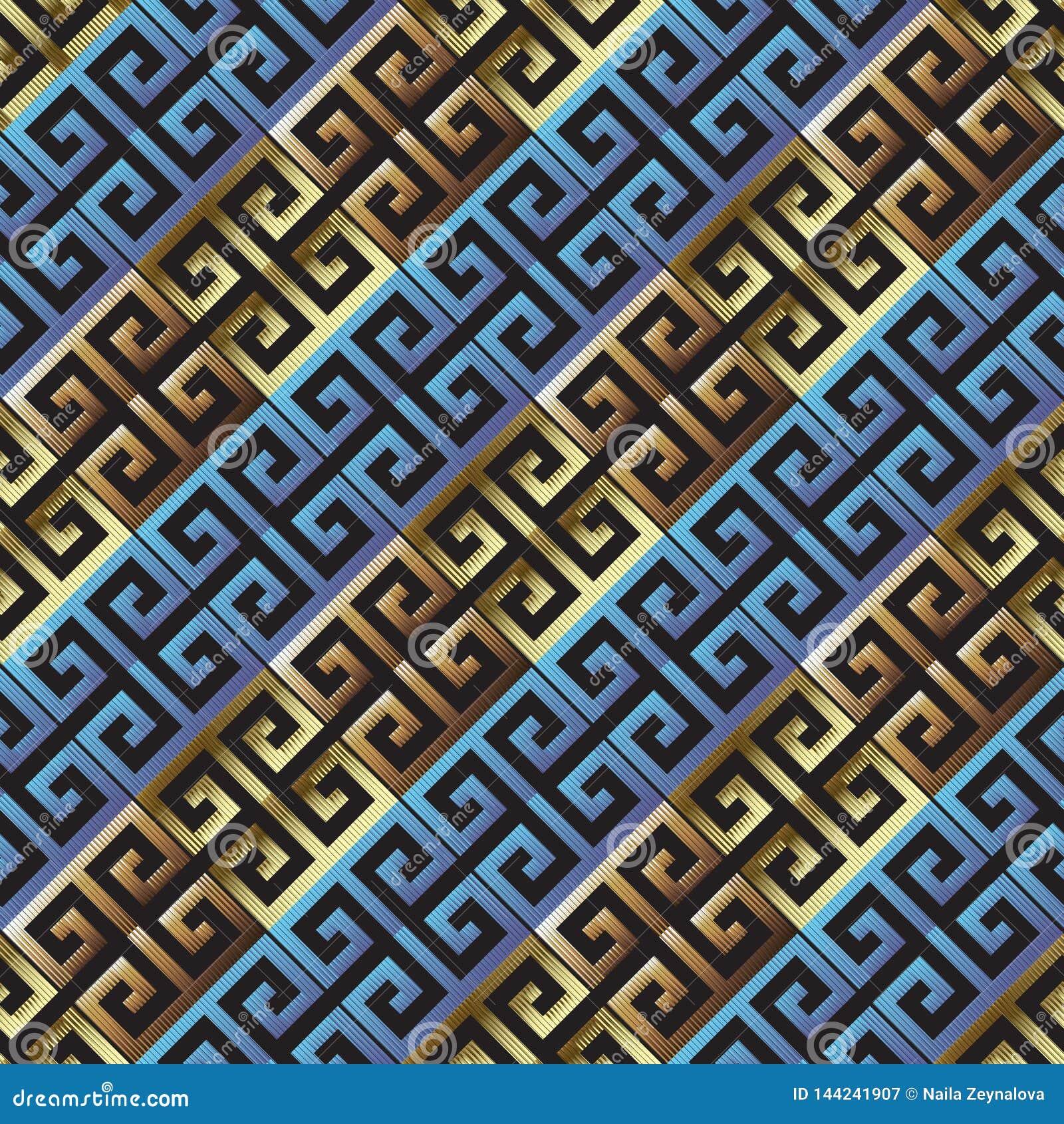 Раскосная текстурированная картина греческого вектора grunge 3d безшовная Striped линия предпосылка Grungy греческий ключевой орн
