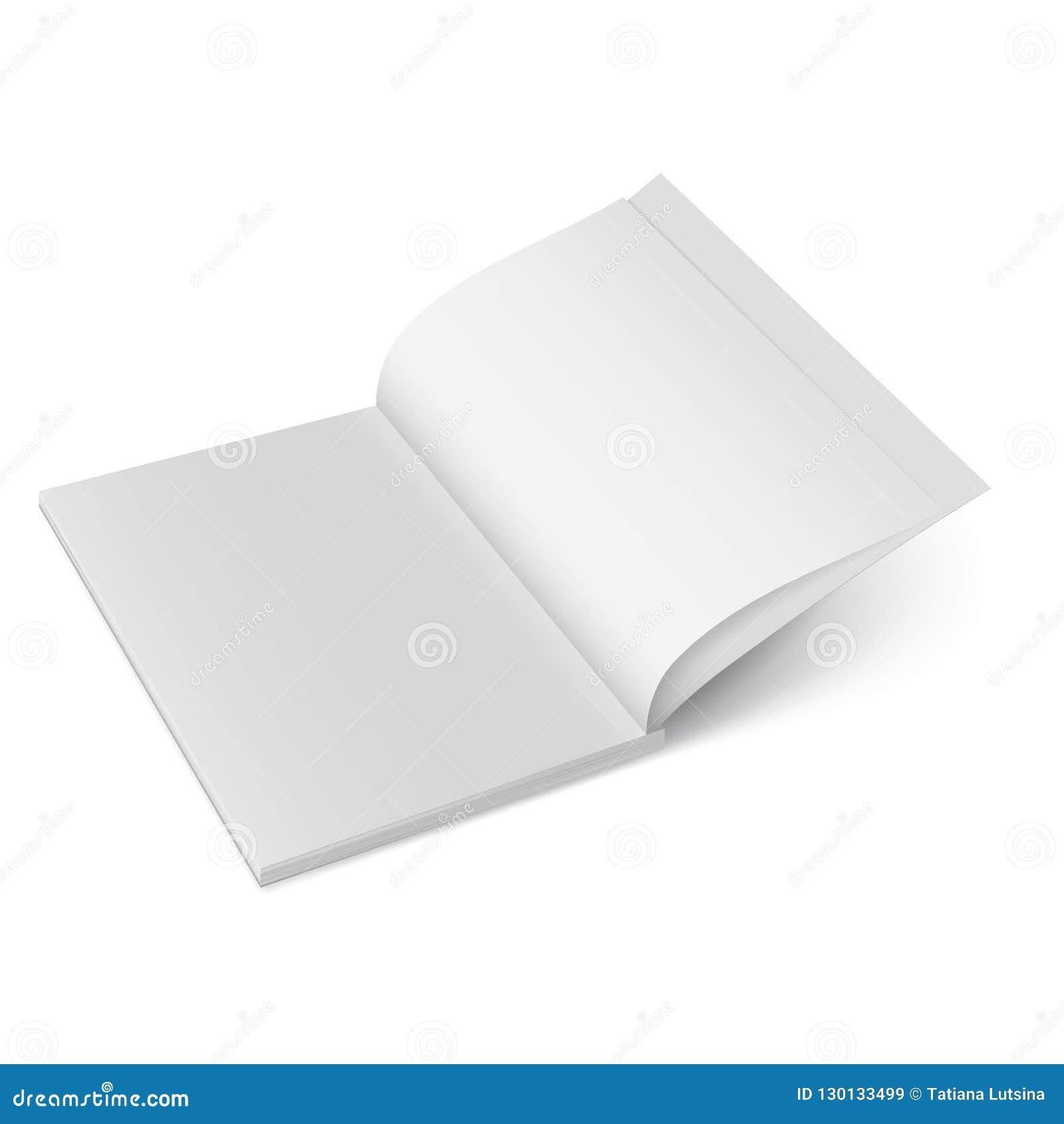 Раскройте бумажный журнал Насмешка вектора вверх изолированного буклета Раскрытый вертикальный шаблон журнала, брошюры или тетрад