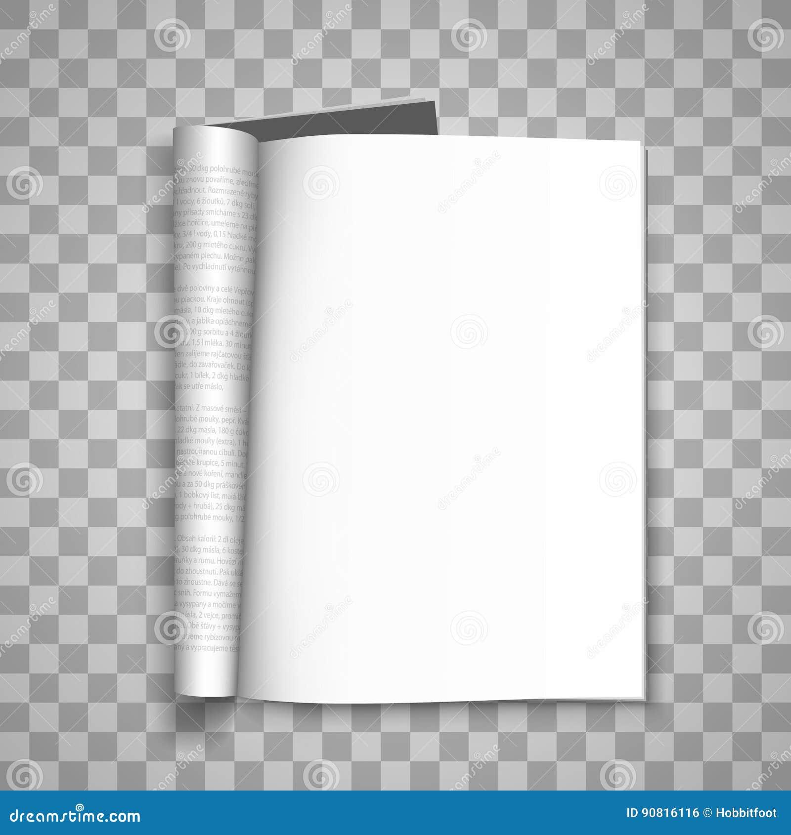 Раскройте бумажный журнал, бумажный журнал, предпосылку пустого magazin прозрачную, элемент дизайна шаблона страницы, вектор
