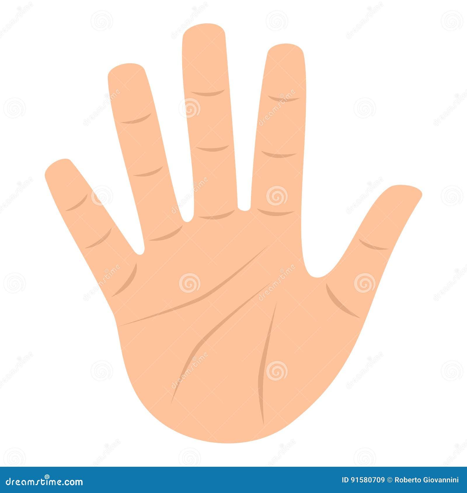 Раскройте значок руки ладони плоский изолированный на белизне