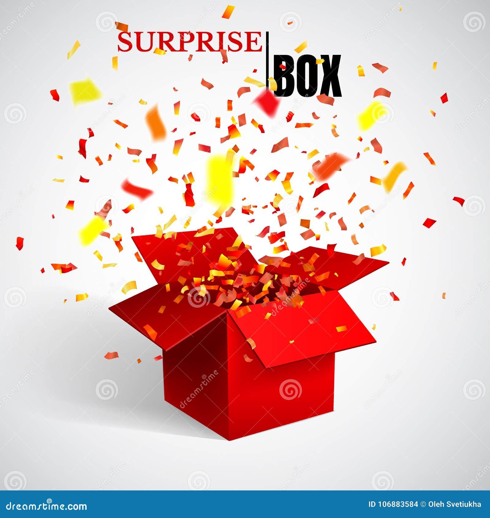 Раскройте красные подарочную коробку и Confetti сярприз также вектор иллюстрации притяжки corel