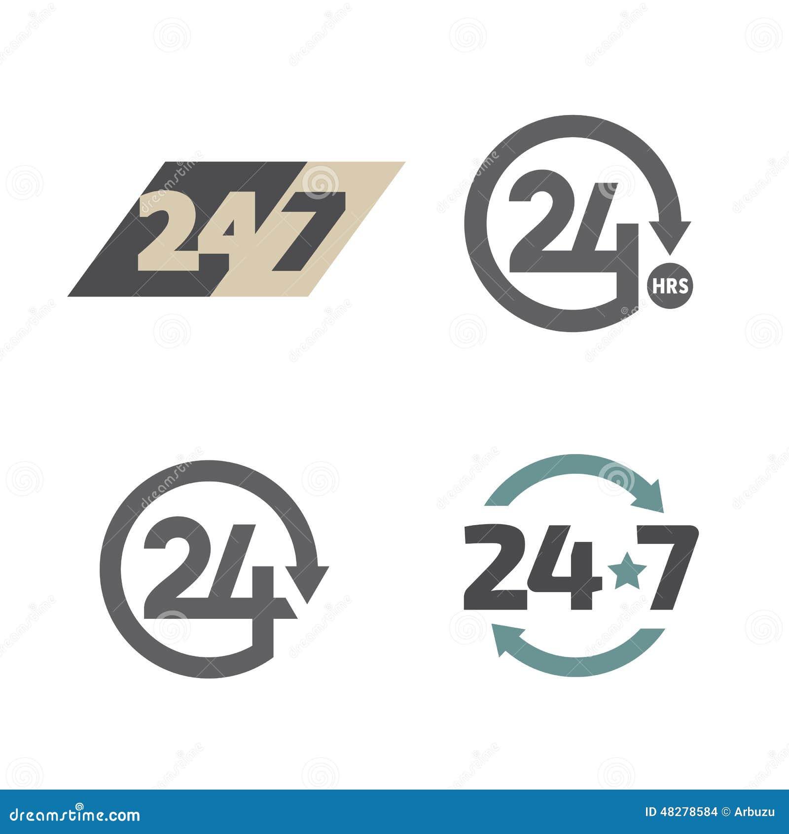 Раскройте круглосуточно 24 часа 7 дней в неделю установленных значков