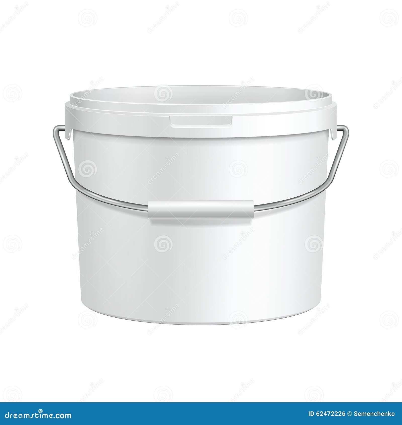 Раскрытый контейнер ведра белой краски ушата пластичный с ручкой металла