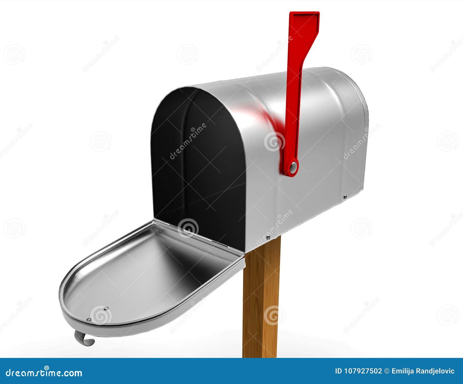 Раскрытый почтовый ящик изолированный на белизне