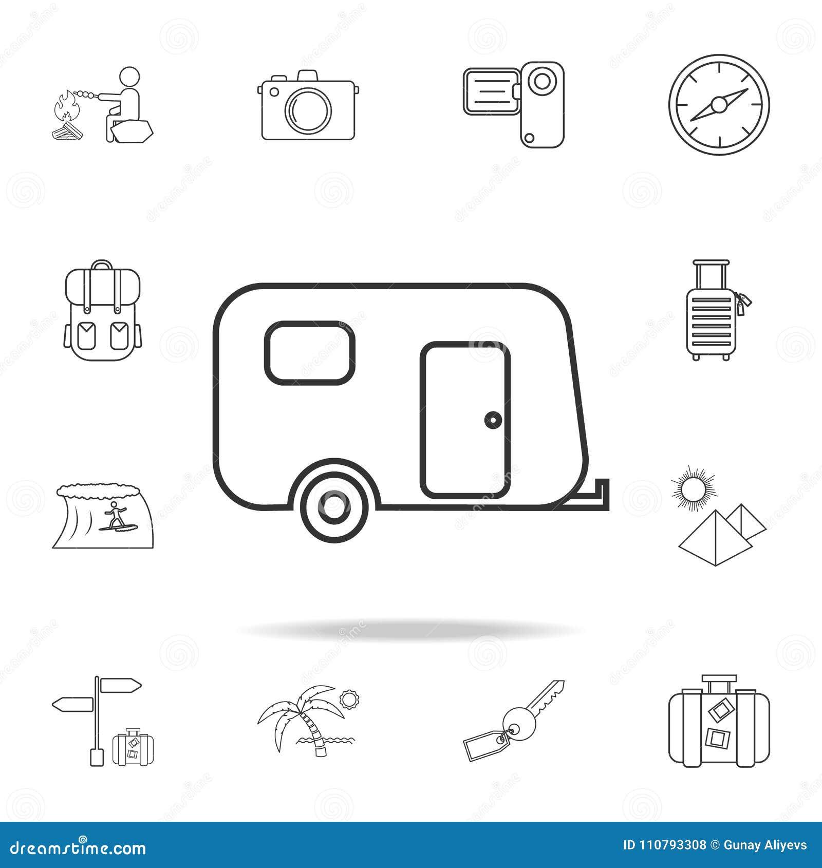 Располагаясь лагерем линия значок трейлера Комплект значков туризма и отдыха Знаки, собрание мебели плана, простая тонкая линия з