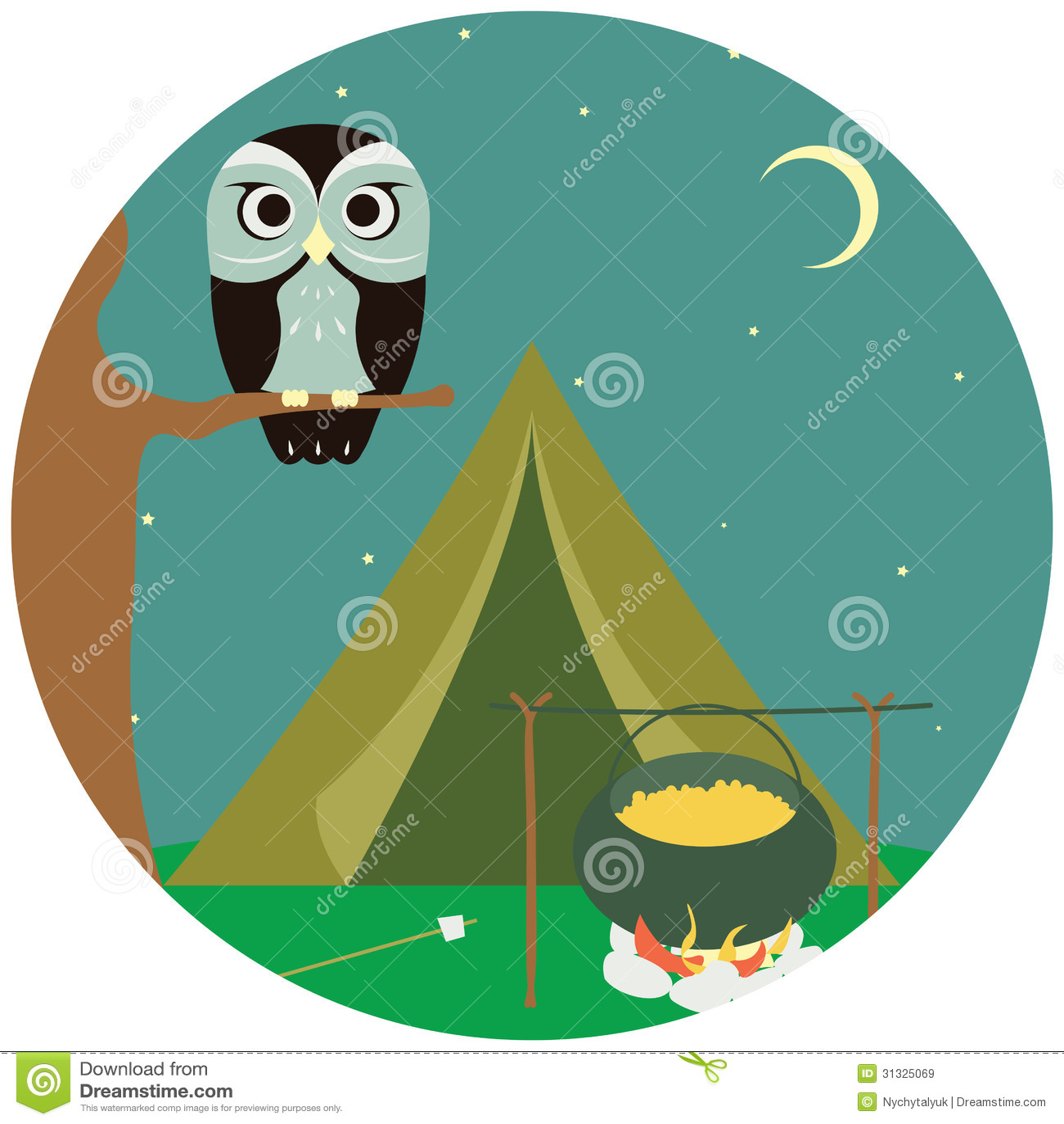 Располагаться лагерем деревянный с шатром и сычом.
