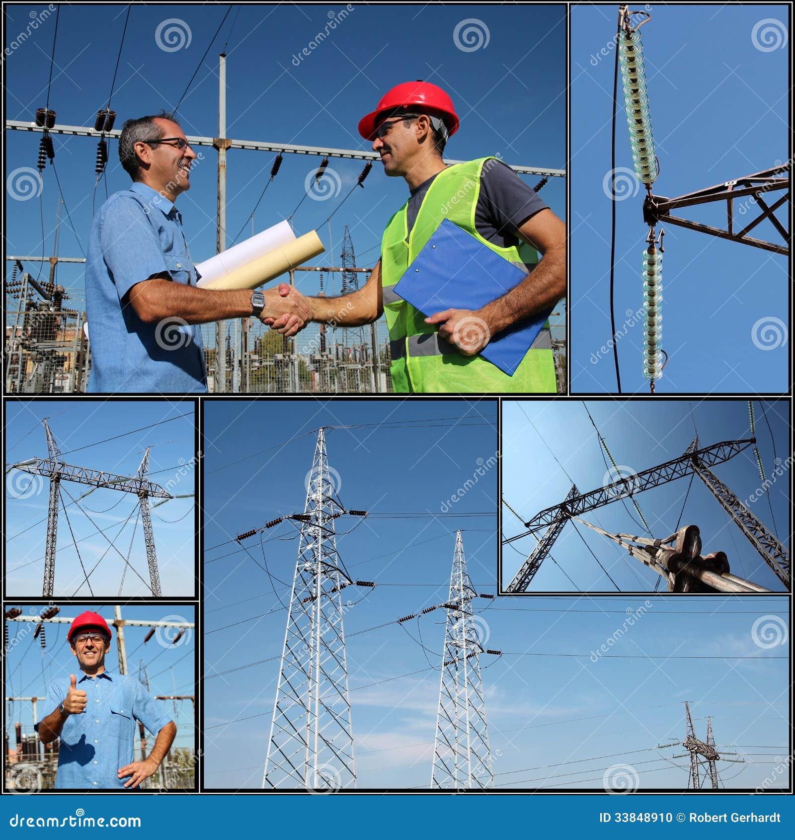 Распределение электричества - коллаж