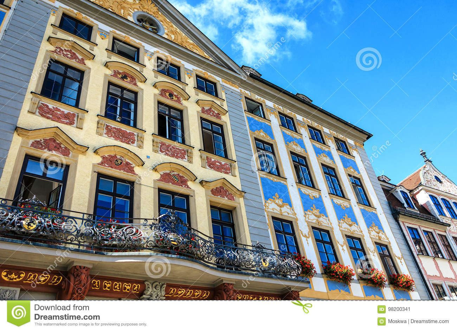 Download Ратуша ренессанса в Кобурге, Германии Стоковое Изображение - изображение насчитывающей landmark, германия: 98200341