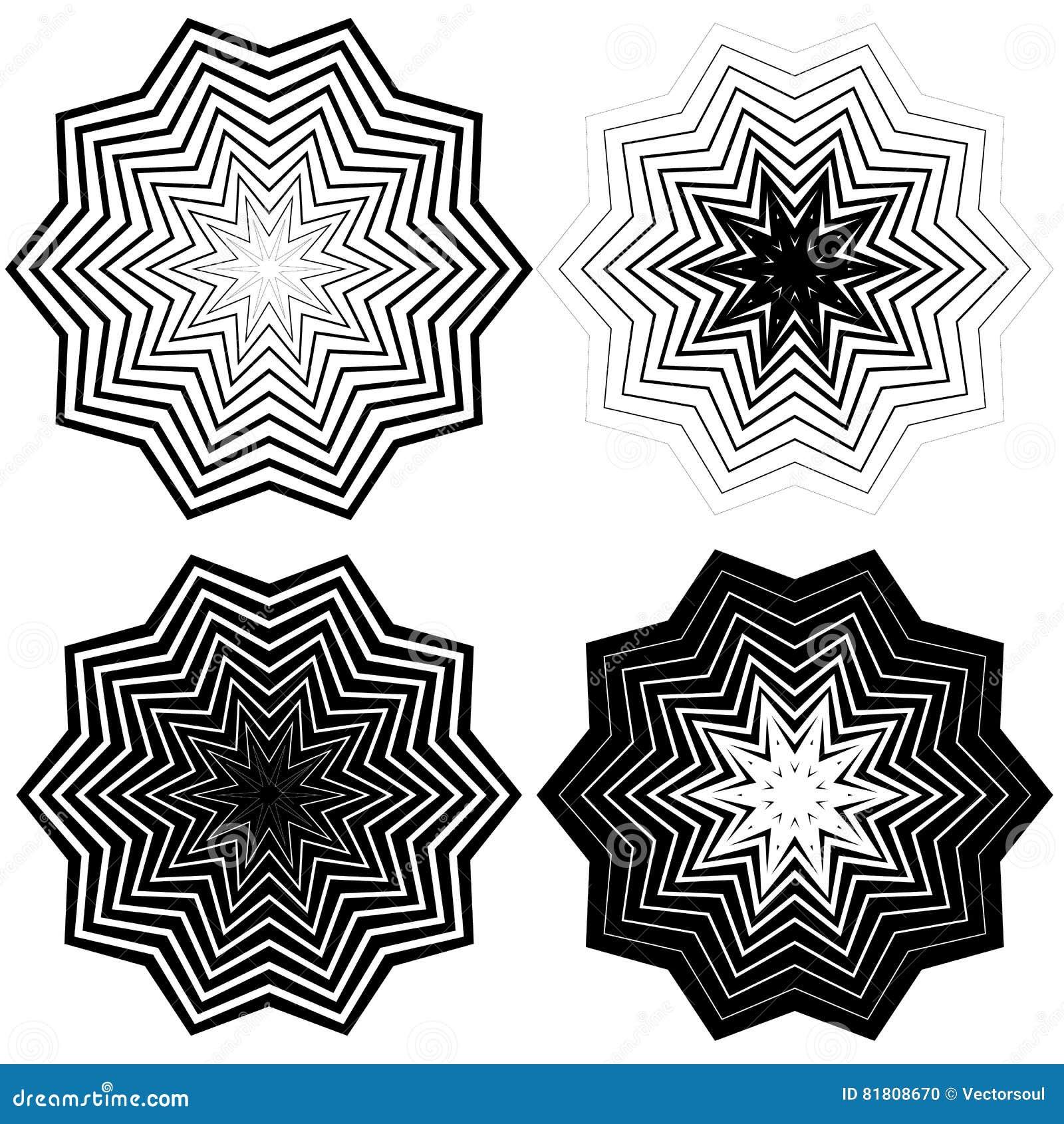 Радиальный, концентрический комплект формы Абстрактные monochrome графики