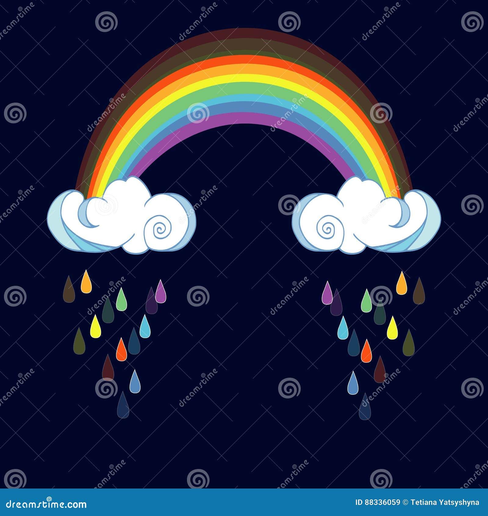 Радуга и идя дождь облака на предпосылке цвета Милый ...