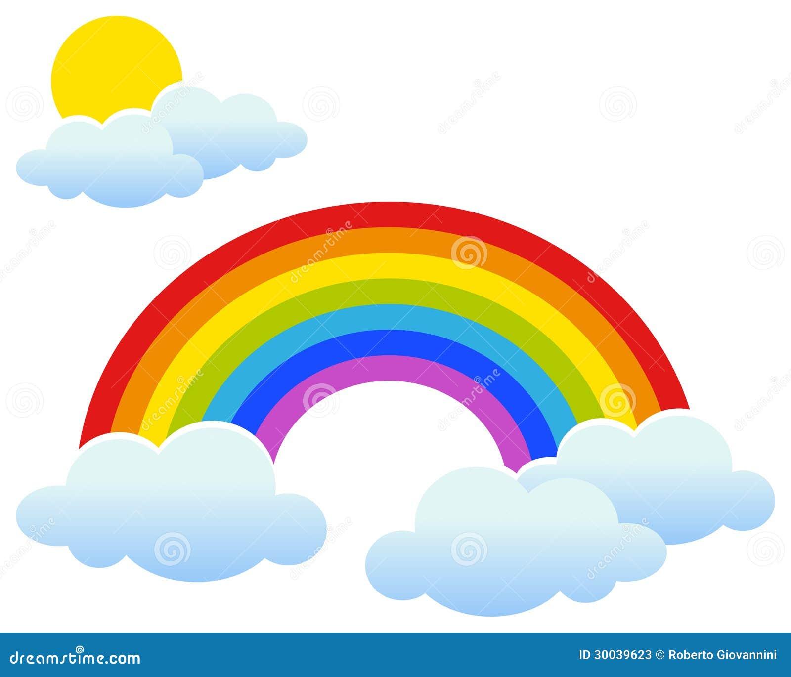 Радуга с Солнцем и облаками Иллюстрация вектора ...
