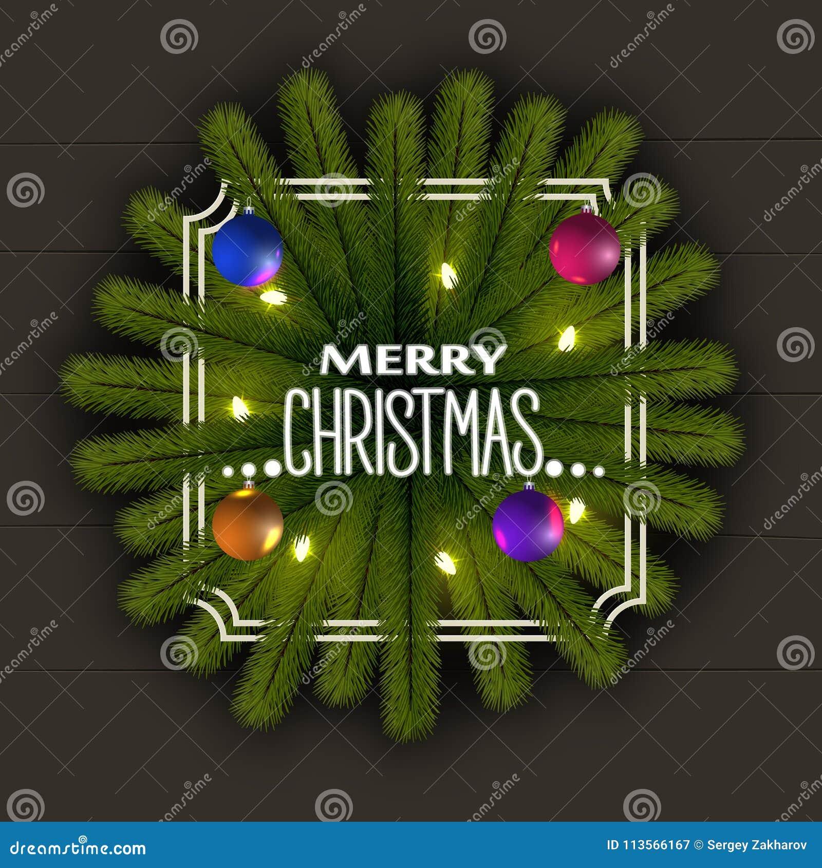 Реалистическая предпосылка рождества Рамка ветвей рождественской елки С гирляндой светов и сияющих шариков