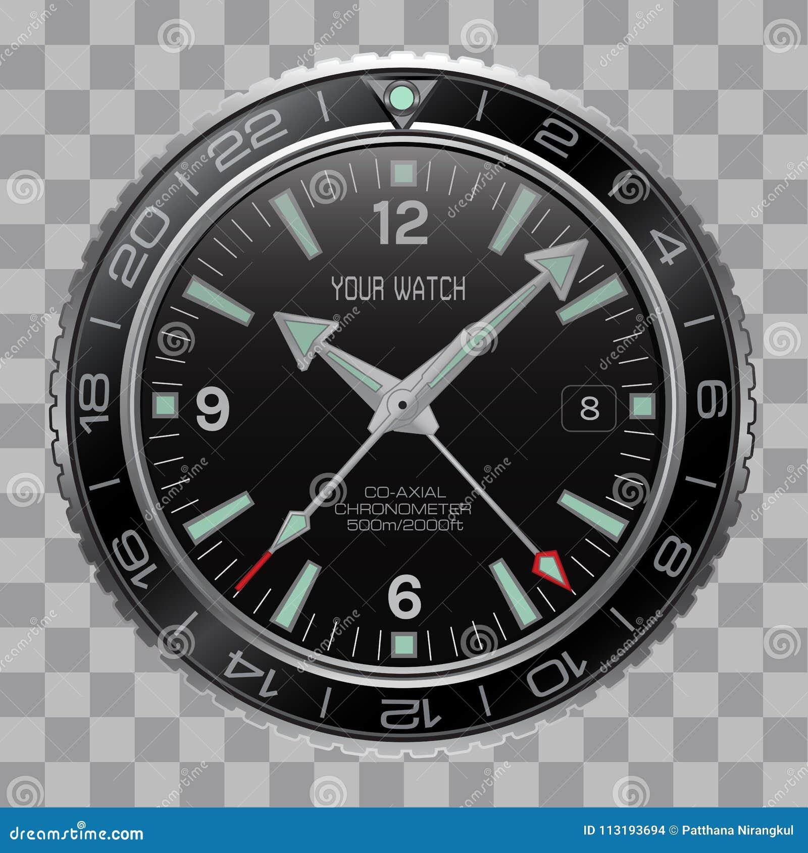 Реалистическая шкала черноты нержавеющей стали стороны хронографа часов вахты на checkered векторе предпосылки картины