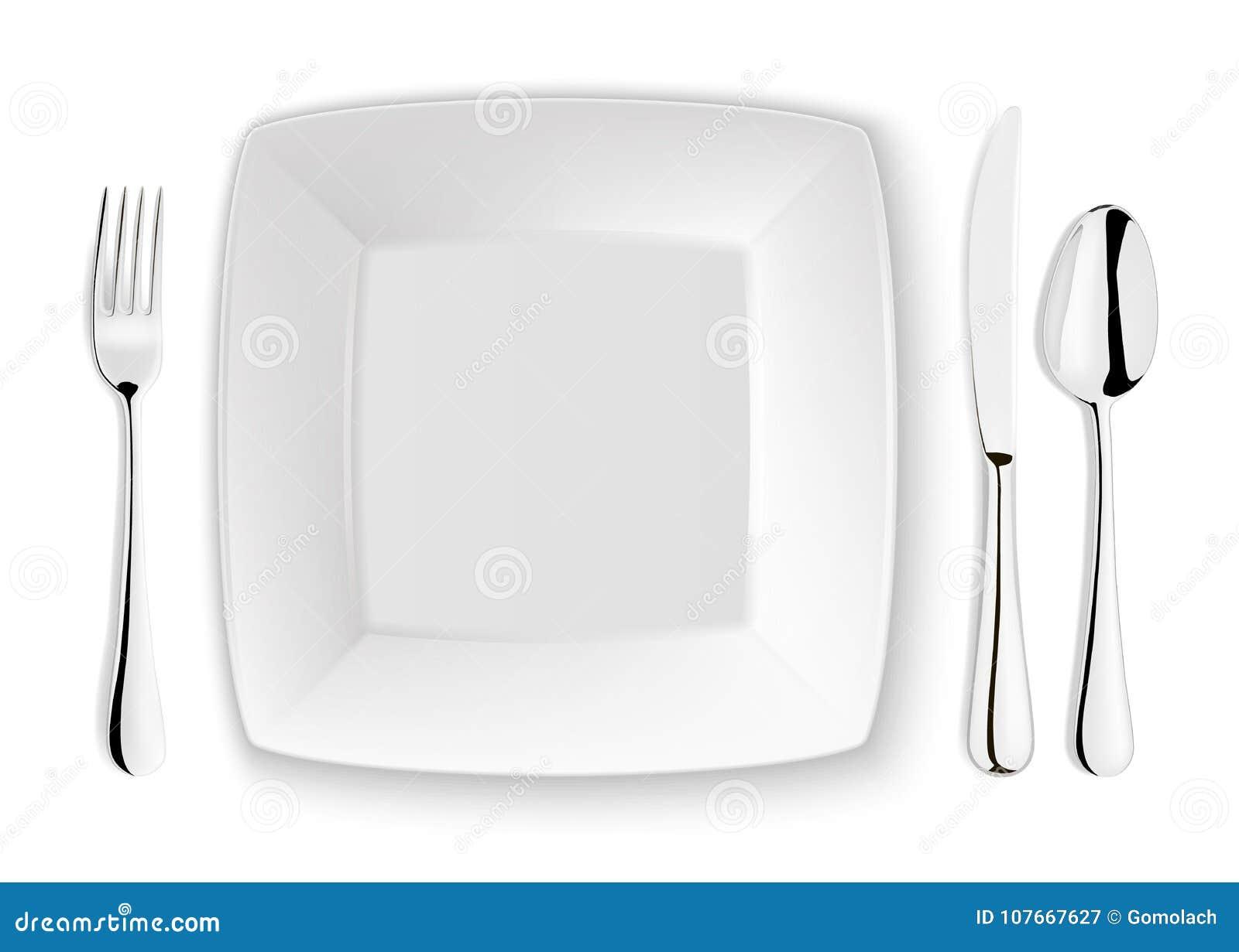 Реалистические ложка, вилка, нож и блюдо вектора покрывают крупный план на белой предпосылке Шаблон или насмешка дизайна вверх to
