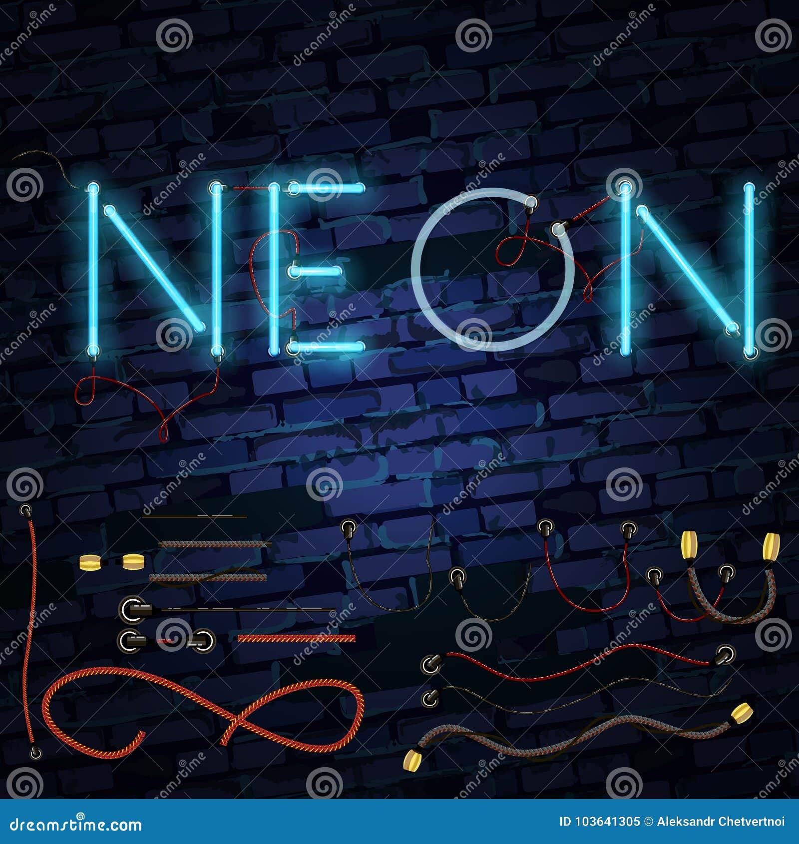 Реалистический неоновый алфавит накалять купели все любые могут различные легко редактируемые графики формы индивидуально наслаив