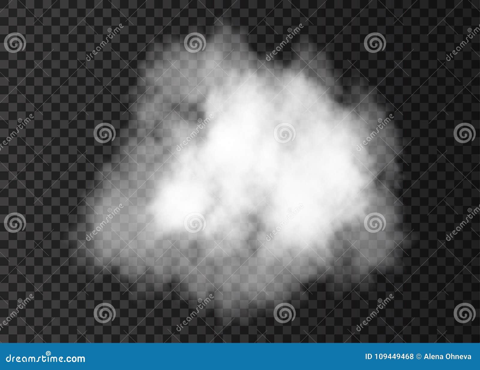 Реалистическое белое облако дыма