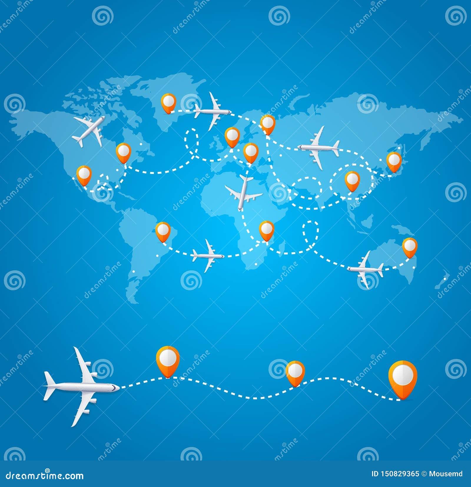 Реалистичная 3d-детальная карта World Wide Travel Concept Card Вектор