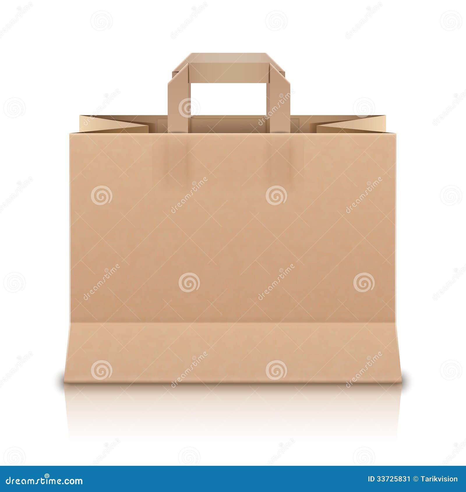 Реалистическая бежевая бумажная хозяйственная сумка. Вектор Illustr