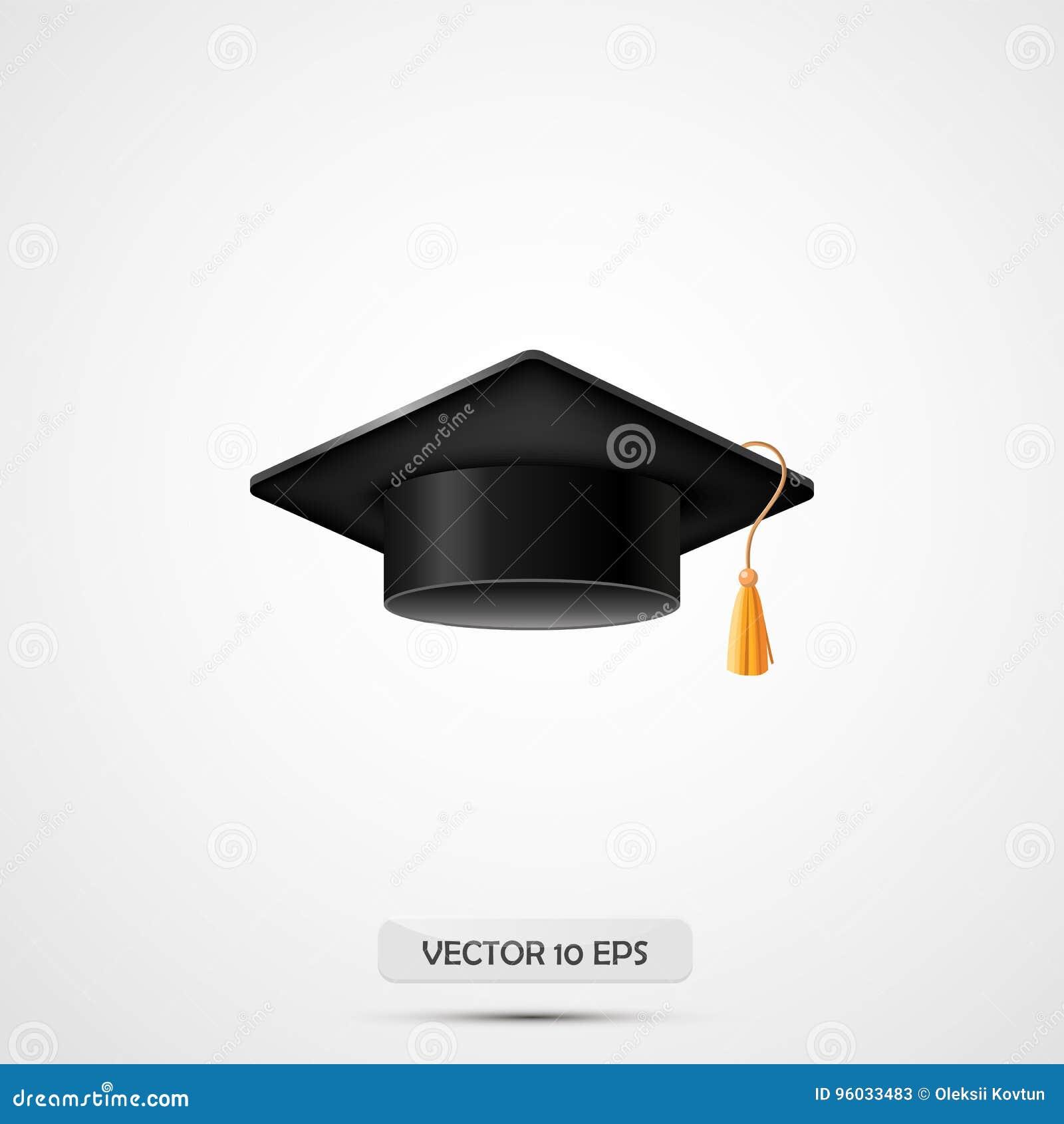 Реалистическая шляпа градации Изолировано на белизне также вектор иллюстрации притяжки corel Крышка образования Академичный равно