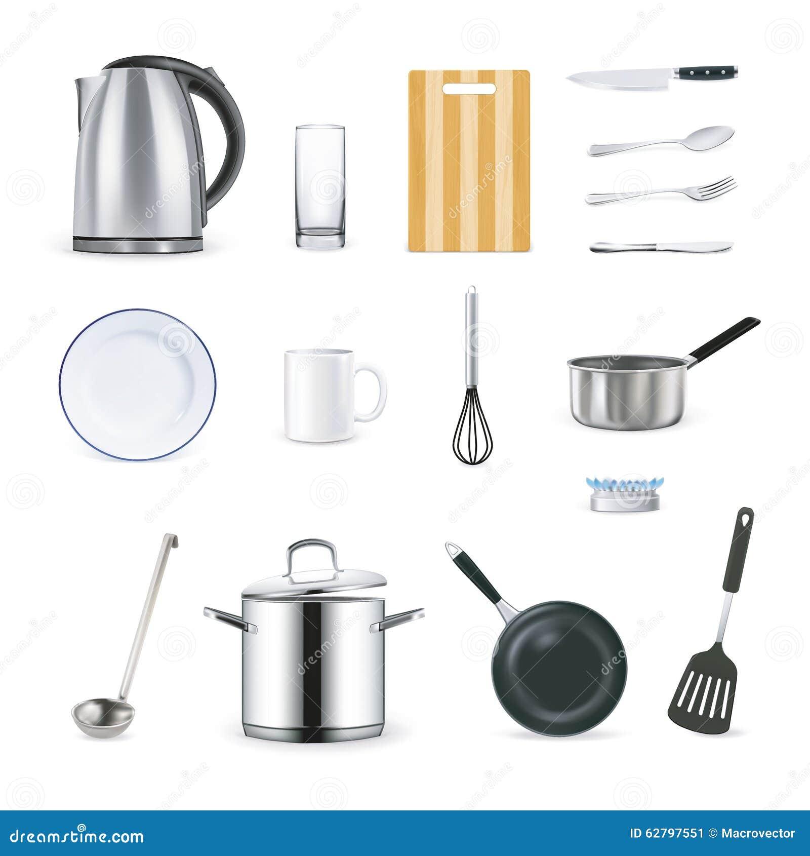 Реалистические значки утварей кухни