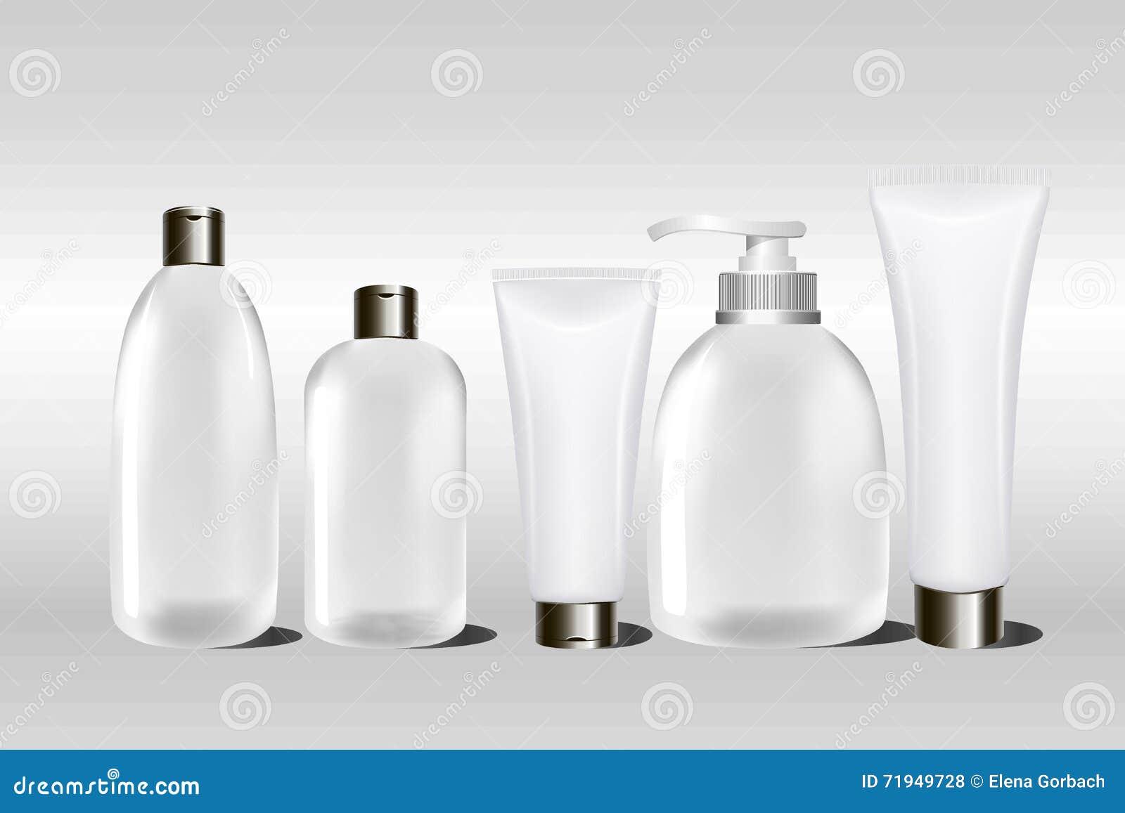 Реалистические пустые белые косметические cream контейнер и трубка для сливк, мази, лосьона, шампуня Насмешка вверх по бутылке