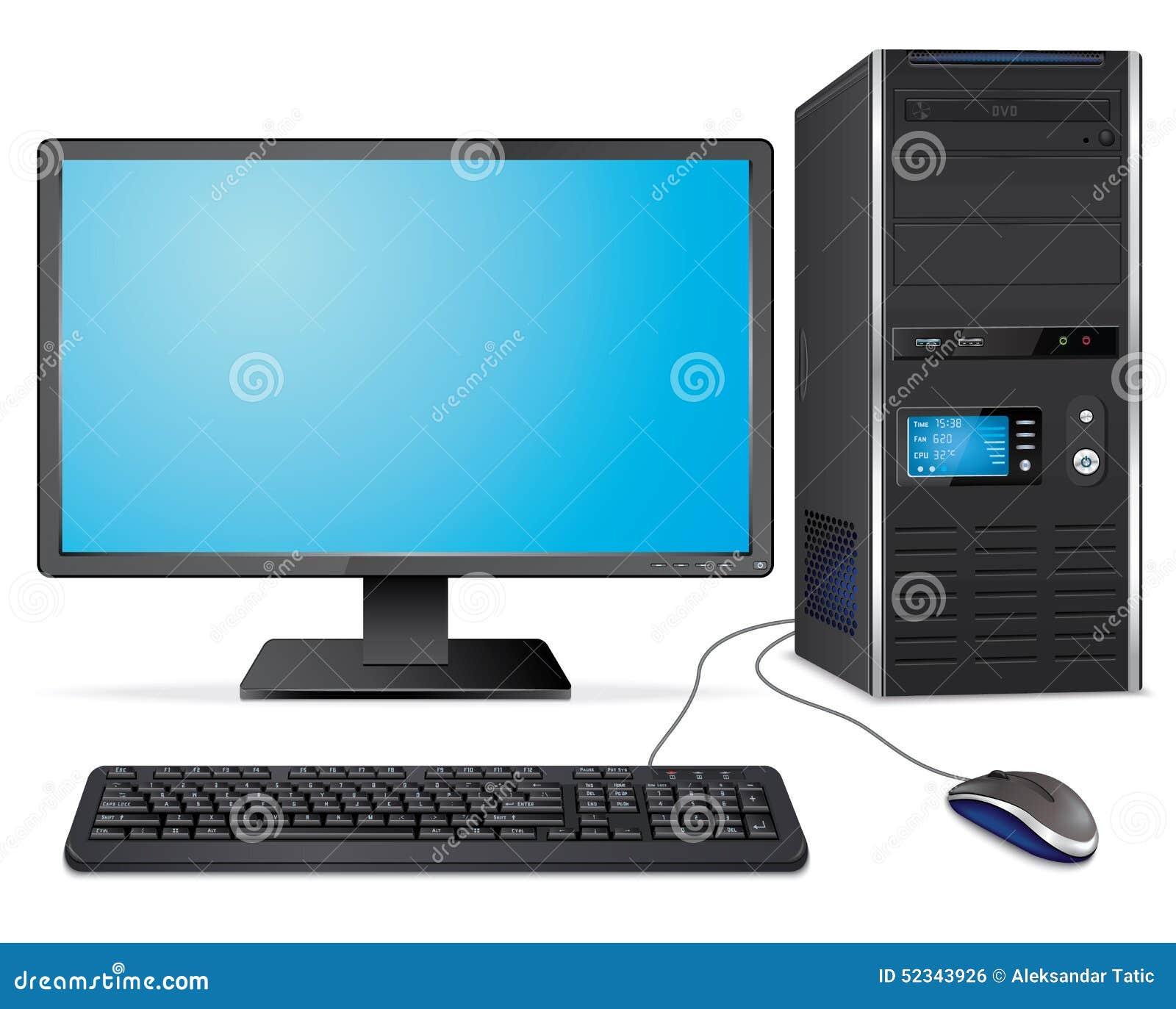 Реалистический случай компьютера с монитором, клавиатурой и мышью