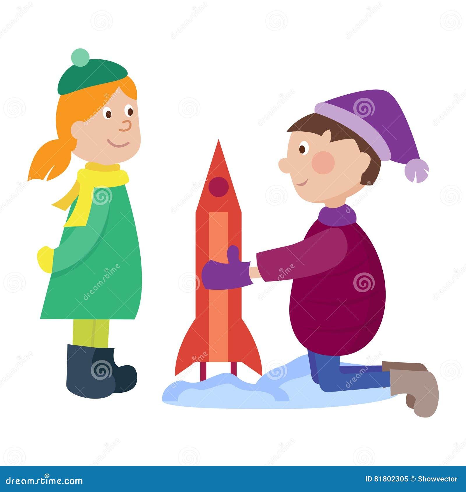 Ребенк рождества играя вектор зимы