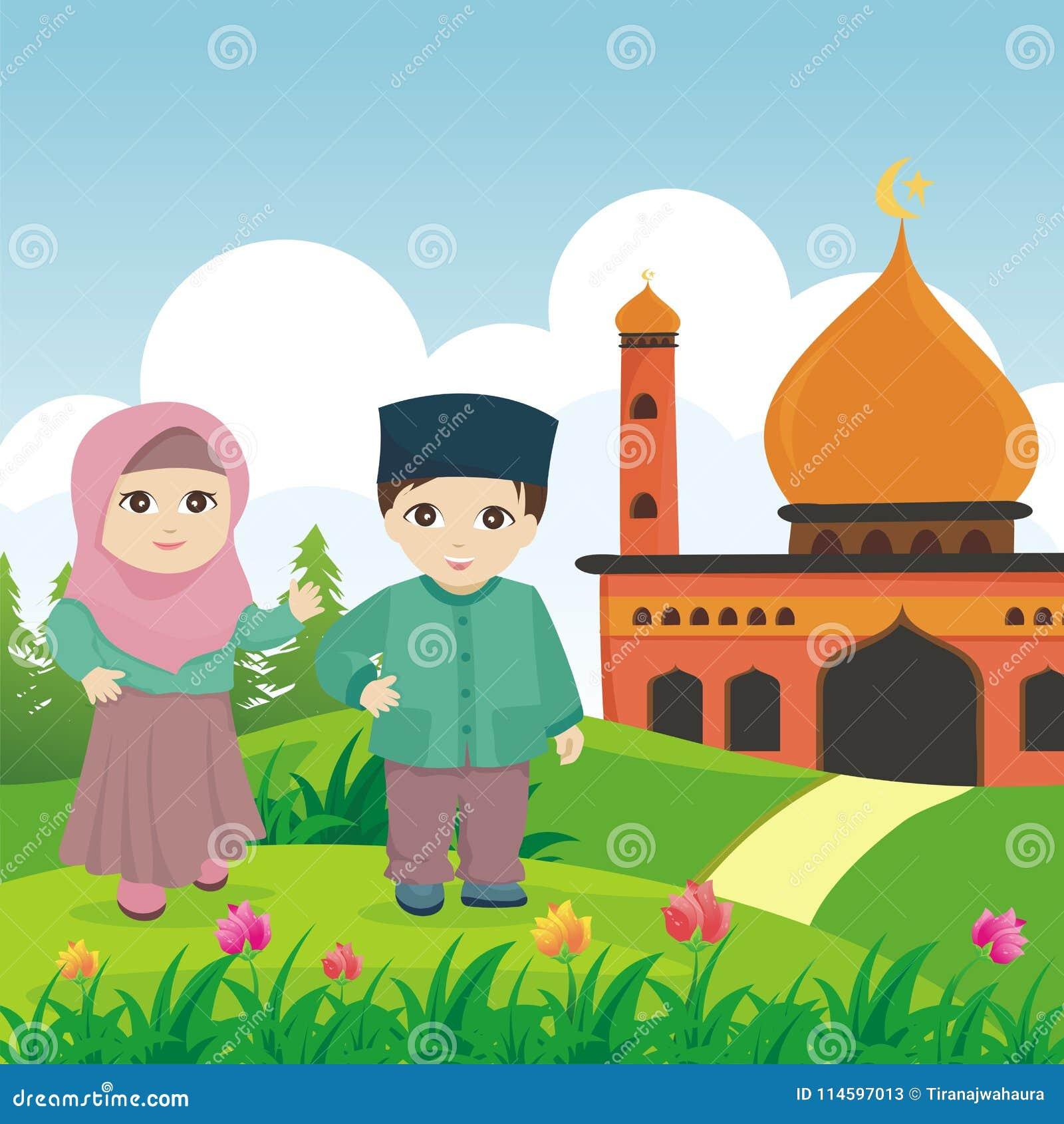 Ребенк шаржа исламский с мечетью и ландшафтом