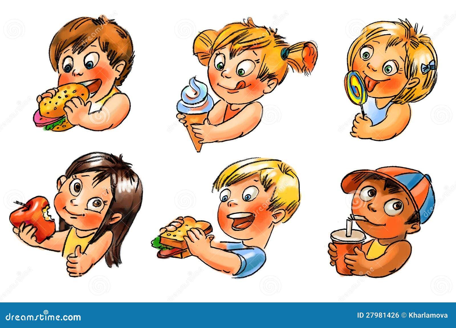 Ребенок ест. Иллюстрация покрашенная рукой