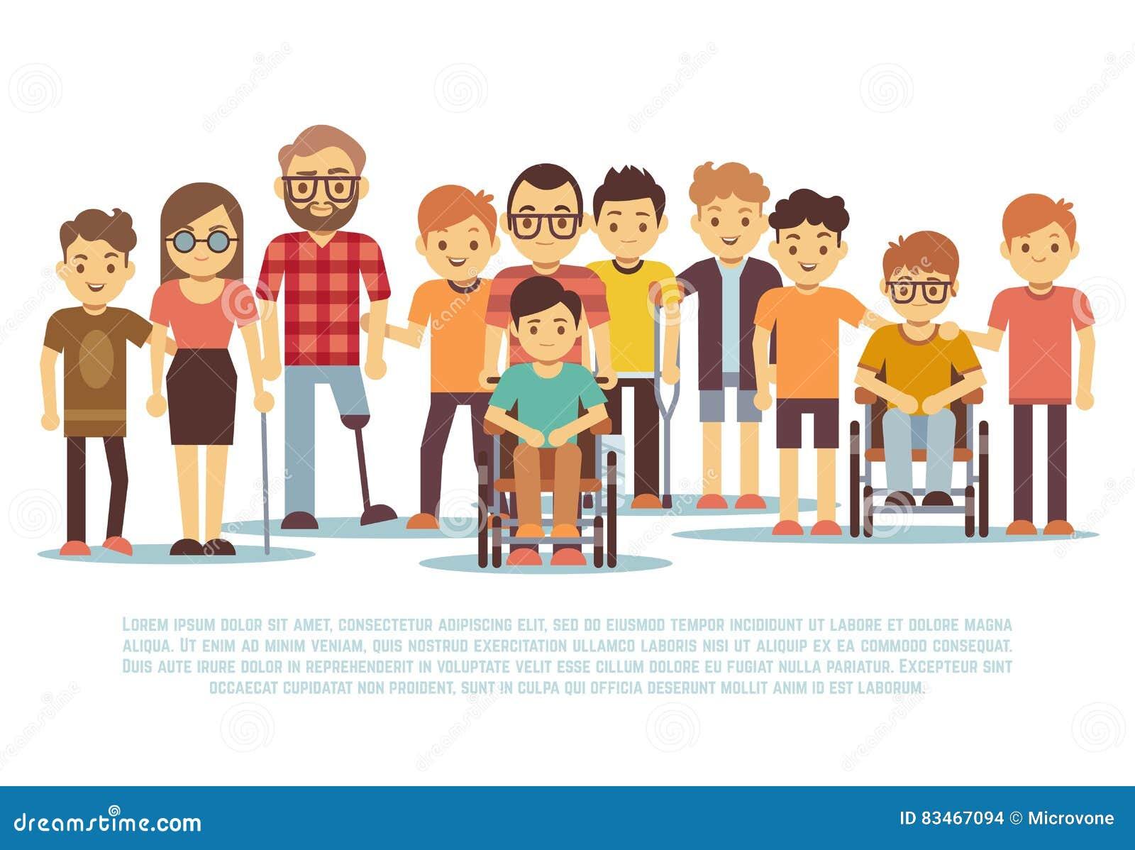 Ребенок-инвалид, ребеята с ограниченными возможностями, разнообразные студенты в комплекте вектора кресло-коляскы