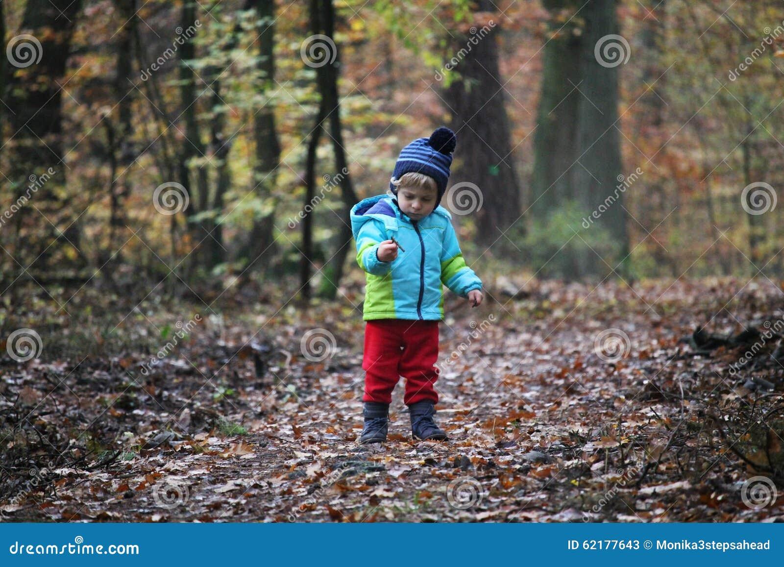 Ребёнок идя через лес осени