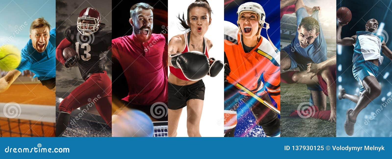 Резвитесь коллаж о футболе, американском футболе, бадминтоне, теннисе, боксе, льде и хоккее на траве, настольном теннисе