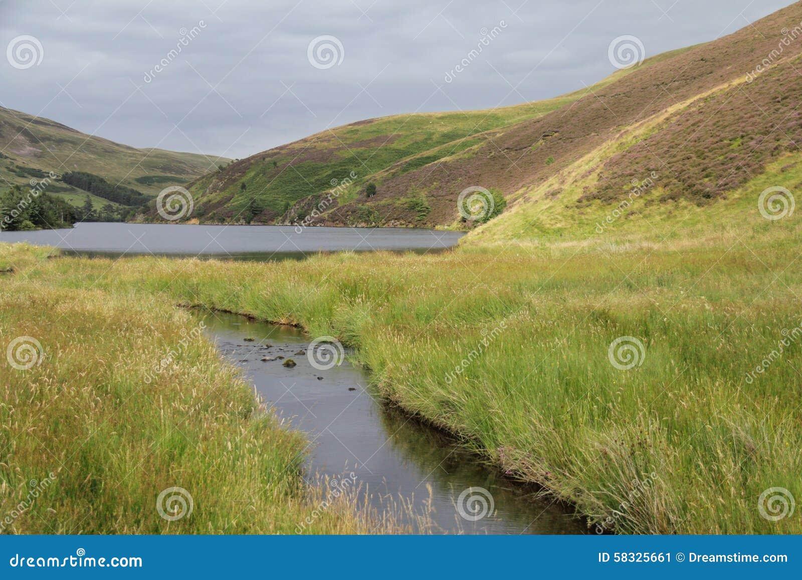 Резервуар в холмах Pentland около Эдинбурга, Шотландии