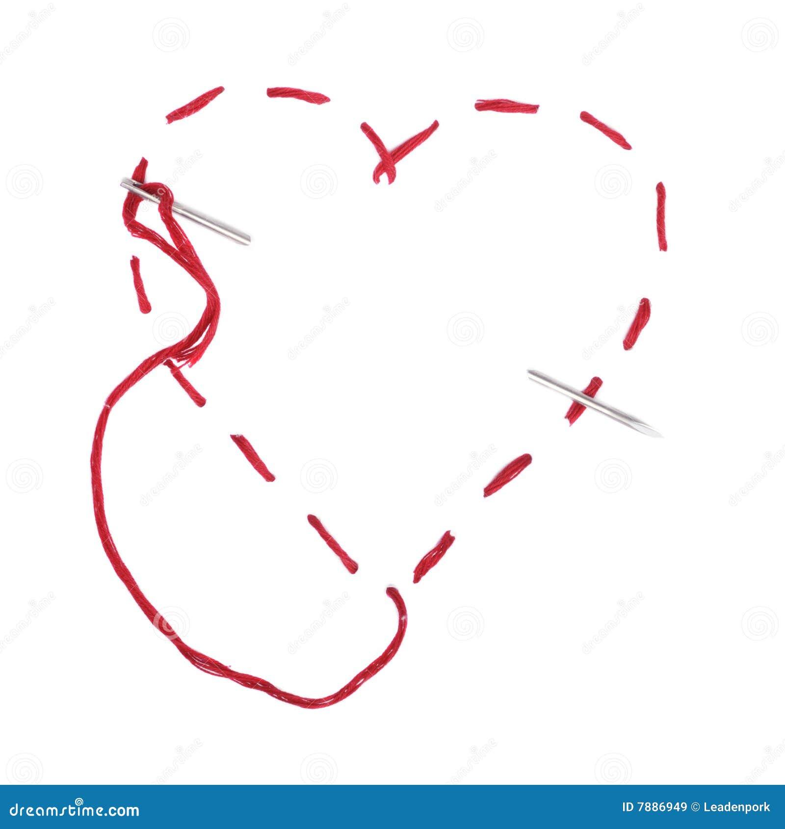 резьба иглы сердца красная