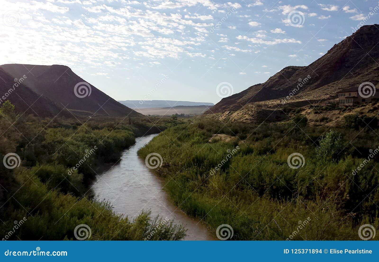 Река девственницы в южной Юте показывая среду обитания Riparian