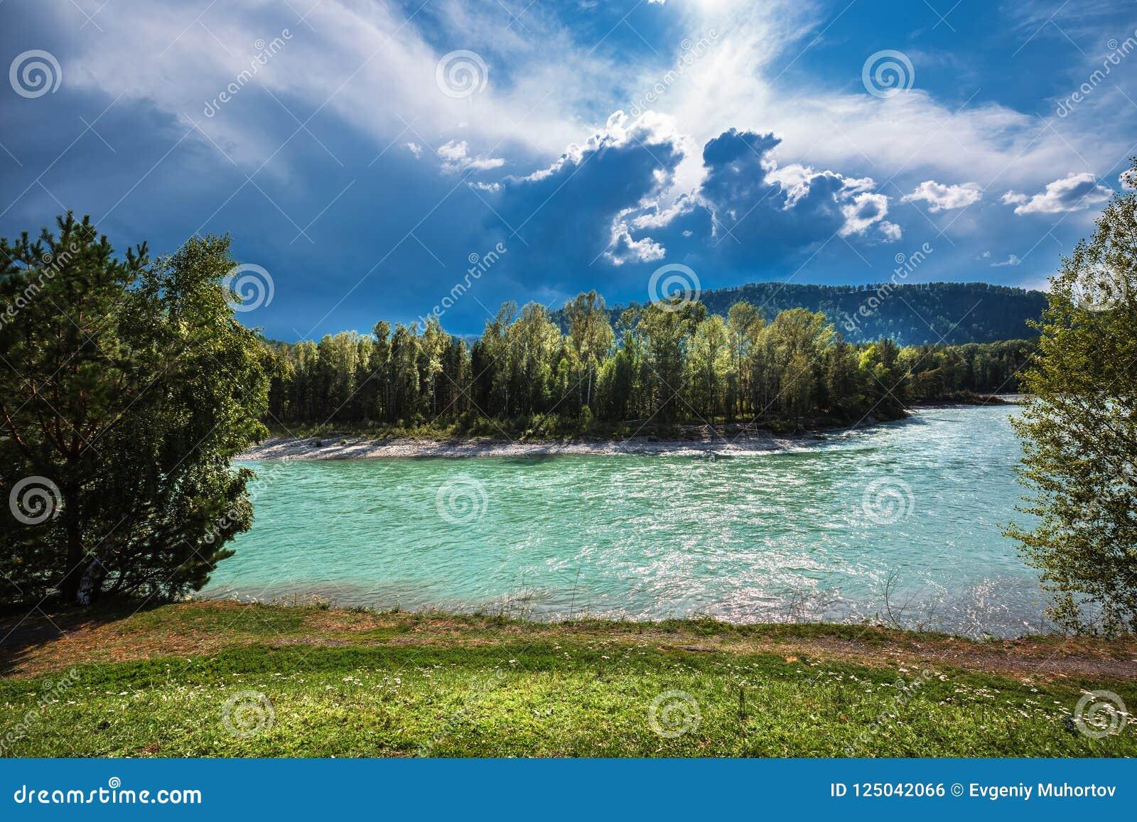 река 2006 katun altai августовское Ландшафт реки Altai