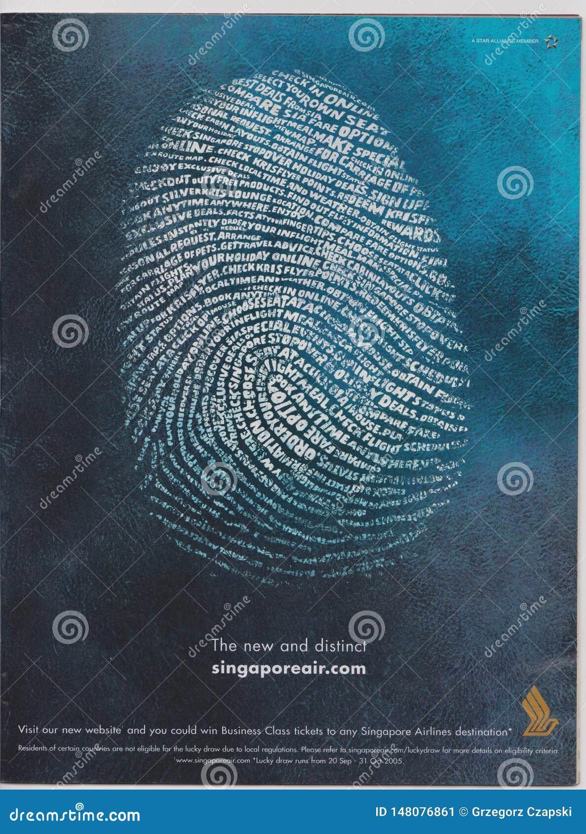 реклама плаката Сингапоре Аирлинес в журнале начиная с октября 2005, новом и отдельном лозунге