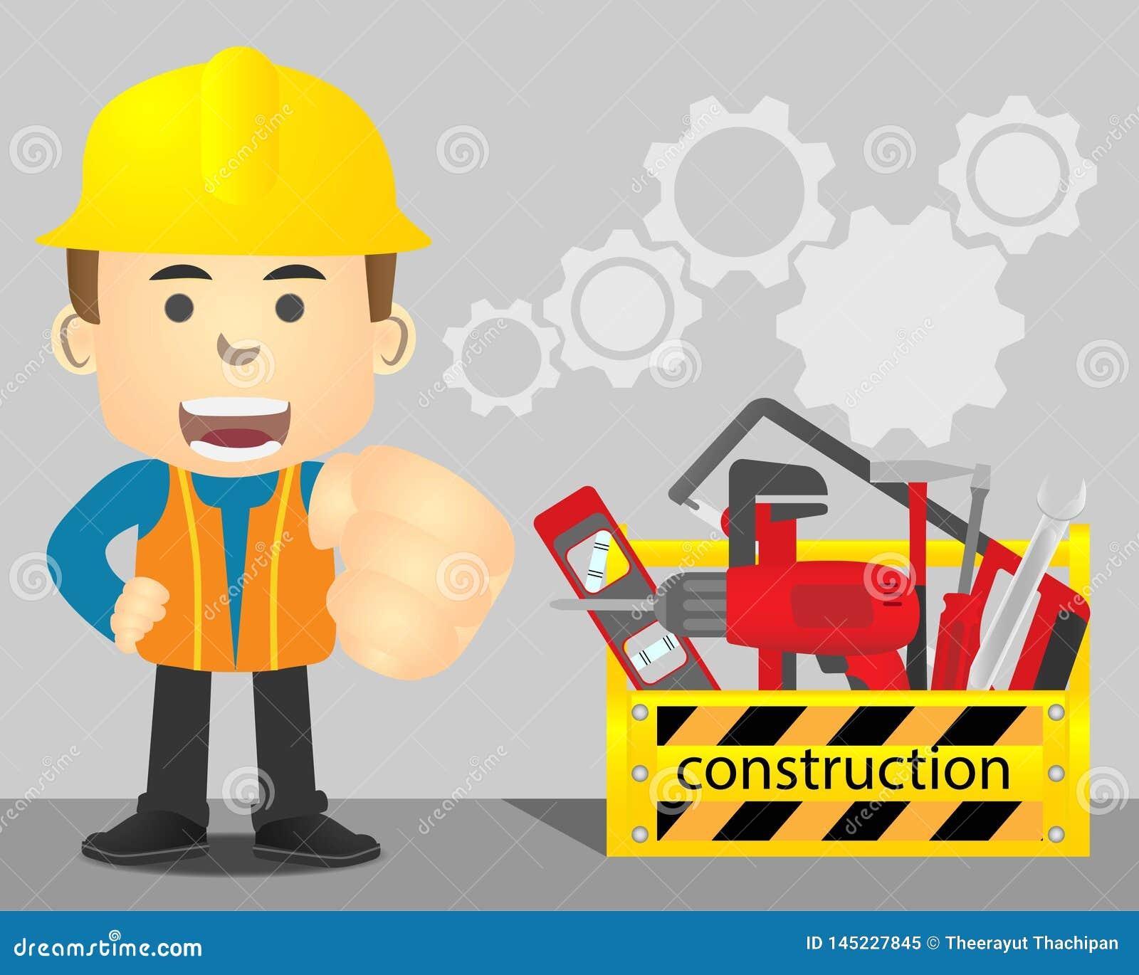 Ремонтник с желтыми toolbox и оборудованием ремонта