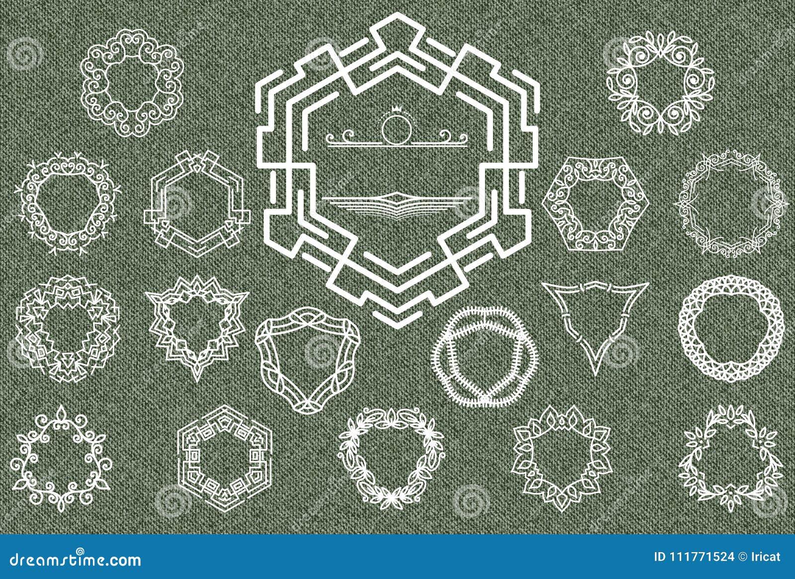 Ретро винтажные установленные Insignias или логотипы Роскошные элементы дизайна, знаки дела, логотипы, идентичность, ярлыки, знач