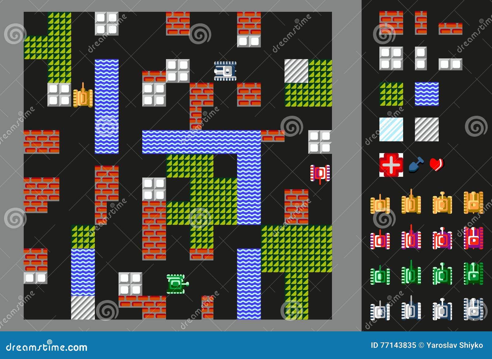 Ретро видеоигра Пользовательский интерфейс с танками, местностью и препятствиями