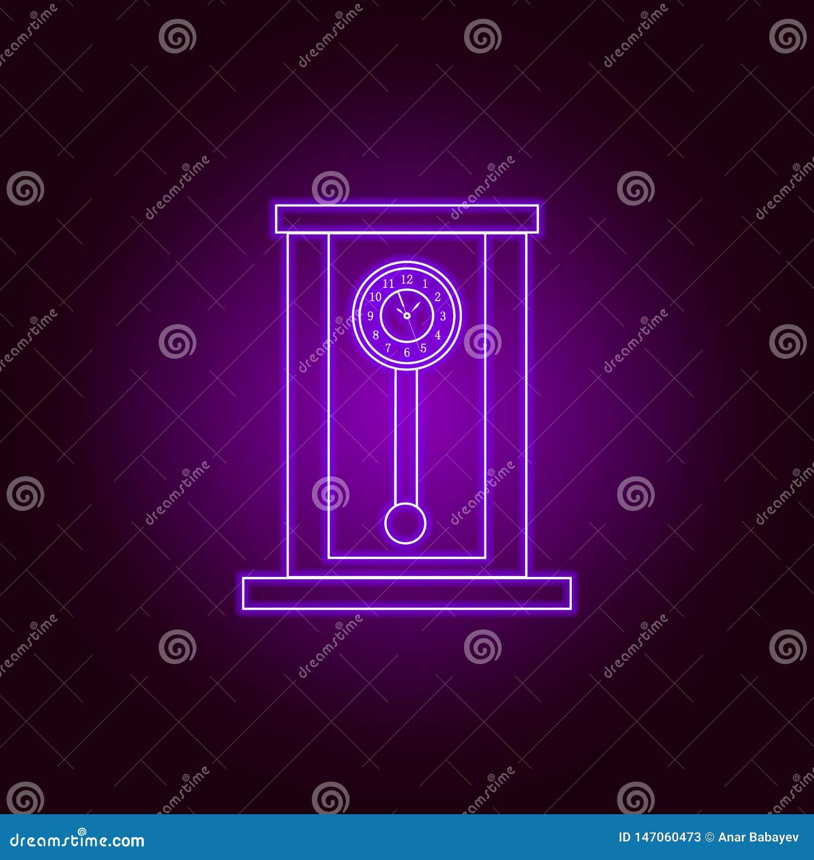 Ретро деревянная линия значок часов маятника в неоновом стиле r Знаки, собрание символов, простой значок для