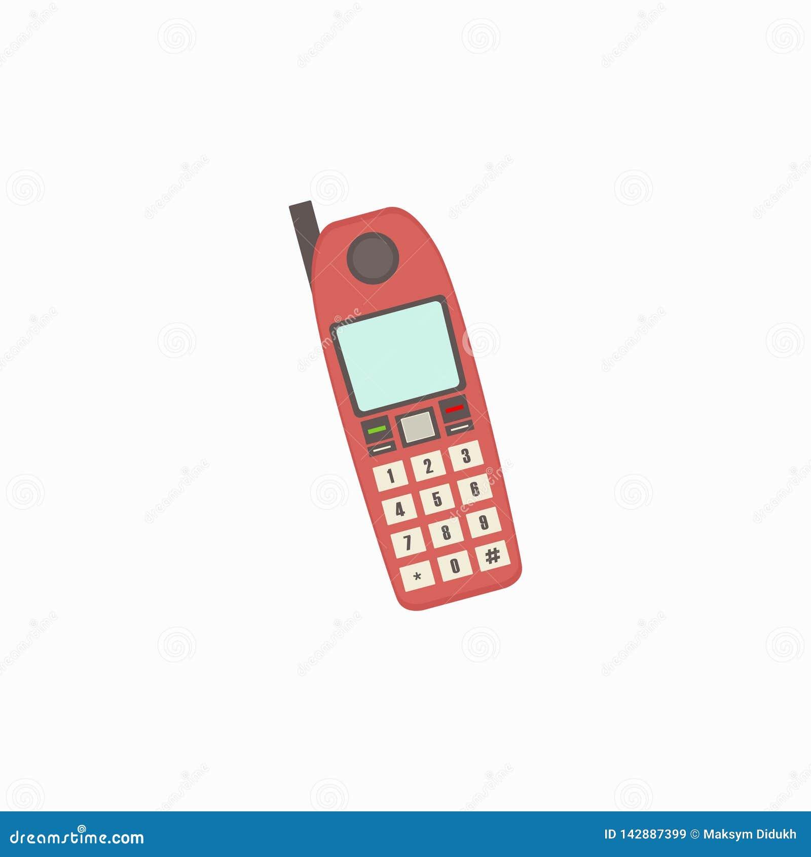 Ретро значки телефона, красный телефон Белая предпосылка также вектор иллюстрации притяжки corel 10 eps