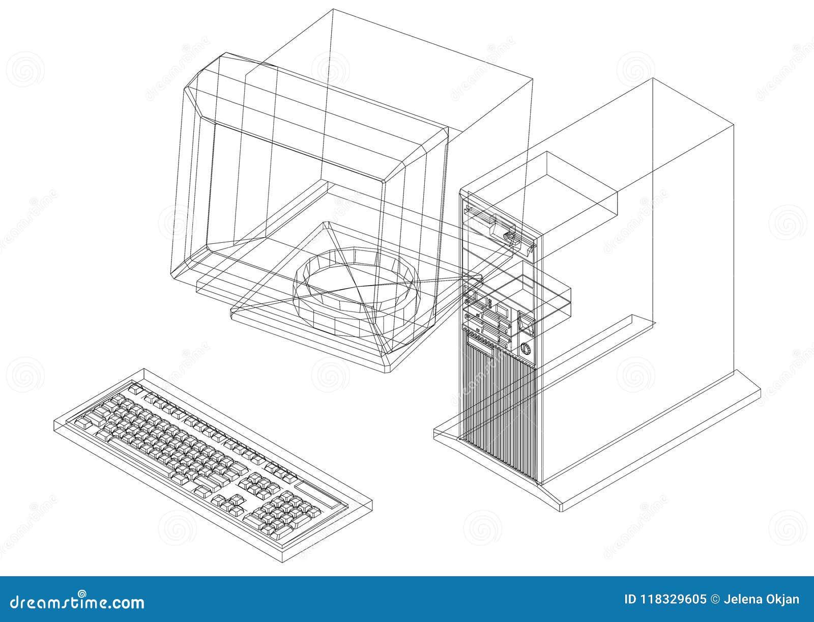 Ретро изолированная светокопия архитектора компьютера -